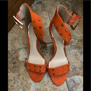 Jessica Simpson orange studded heels